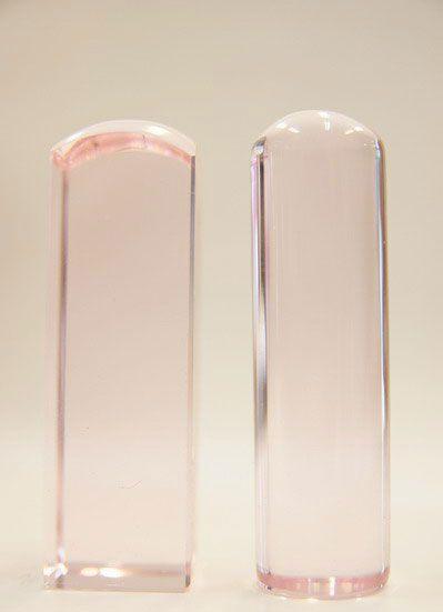 高級粉水晶五分方(圓)印章-肚臍章