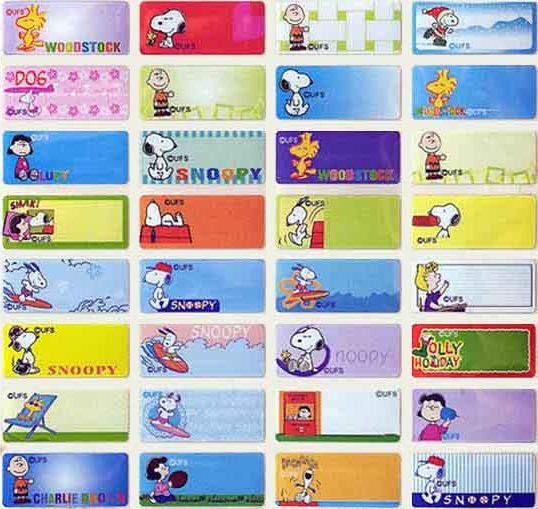 A001-史努比-0.9*2.2授權彩色姓名貼【明安雅印】-300張-肚臍章